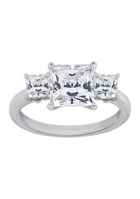 Diamonbliss Women 3 Ct. T.W. Princess Cut Cubic Zirconia 3-Stone Ring