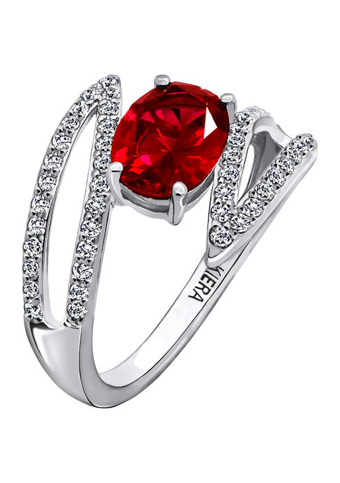 Rhodium Plated Sterling Silver Cubic Zirconia and Created Ruby Pavé Petal Cross Over Ring