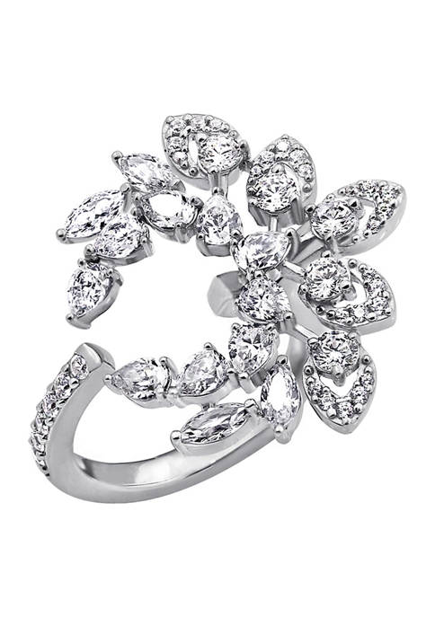 Platinum Plated Sterling Silver Cubic Zirconia Laurel Wreath Open Ring