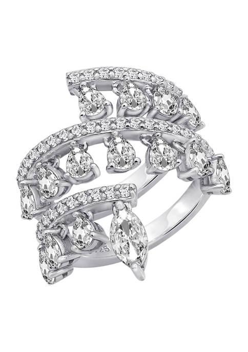 KIERA Platinum Plated Sterling Silver Cubic Zirconia Dangle