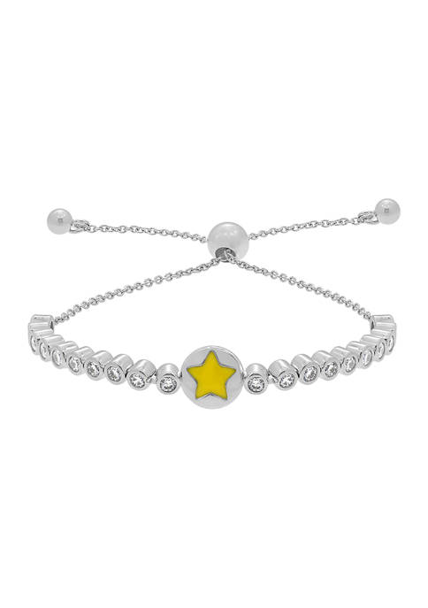 J'admire Platinum Plated Sterling Silver Yellow Enamel Star