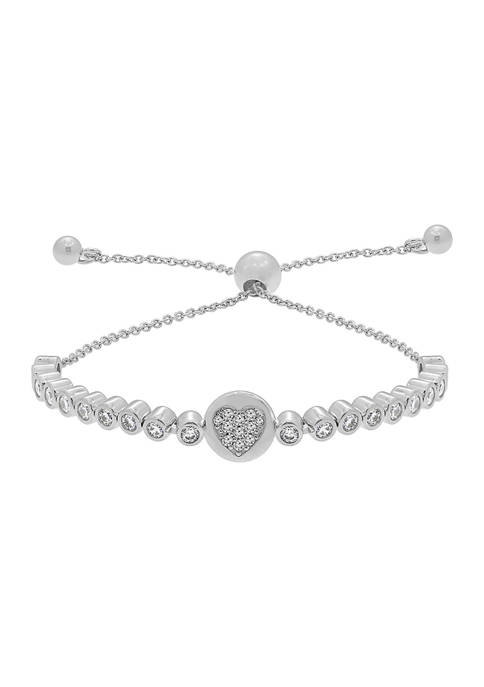 J'admire Platinum Plated Sterling Silver Bezel Round Cubic