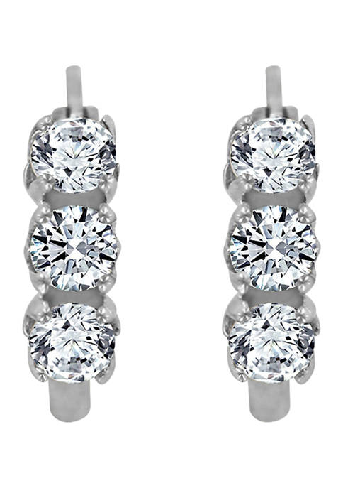 DIAMONBLISS Platinum Plated Sterling Silver Cubic Zirconia