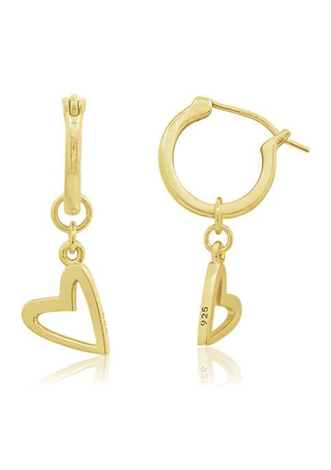 Peace Love World Heart Dangle Hoop Earrings, 14K