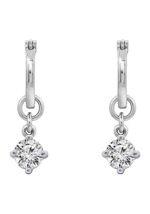 J'admire Rhodium Plated Sterling Silver Round Cut Cubic