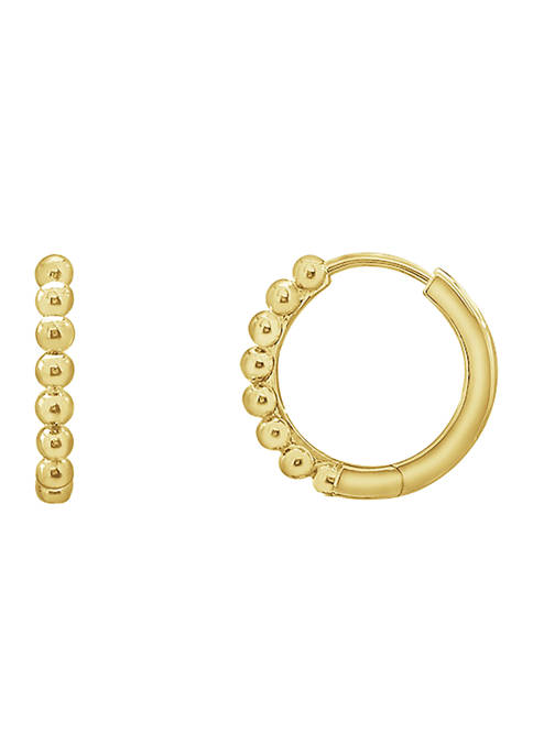 Yellow Gold Plated Sterling Silver Ball Huggie Hoop Earrings