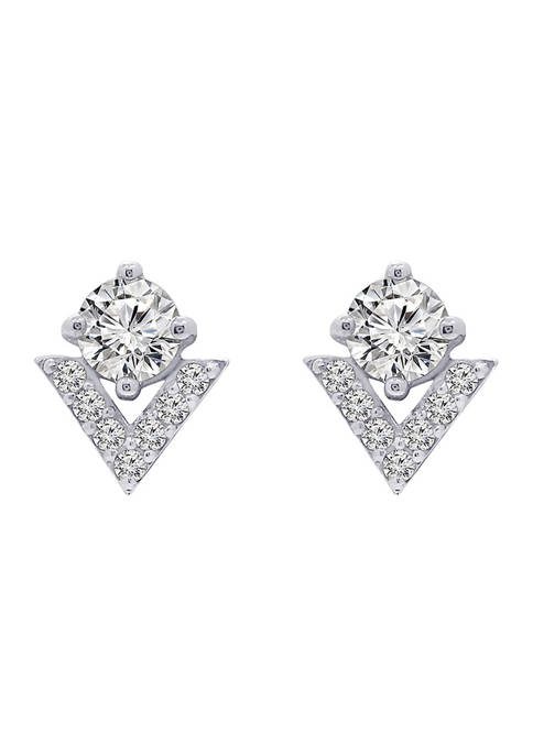 J'admire Platinum Plated Sterling Silver Round Cut Cubic