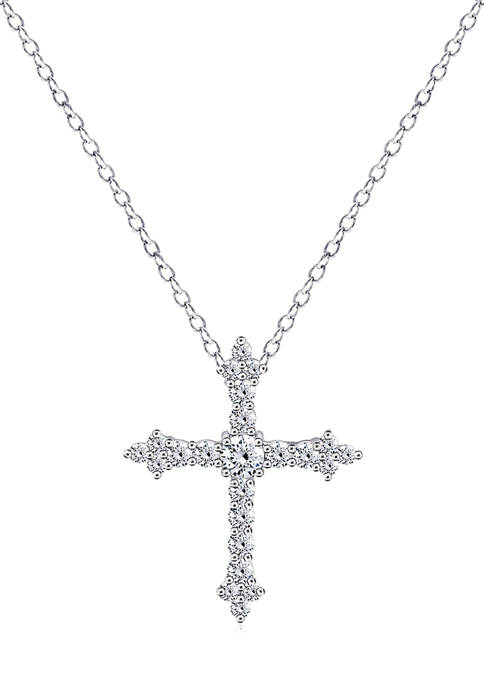 DIAMONBLISS Cubic Zirconia Heart Cross Pendant with Chain