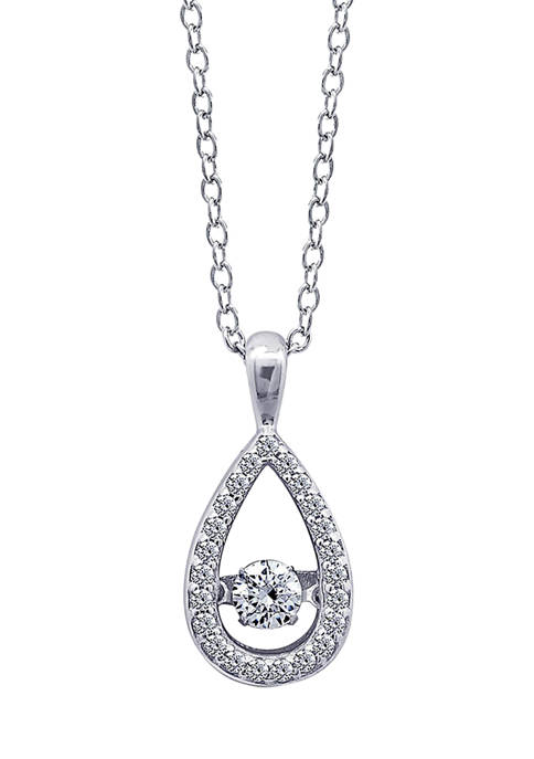 Platinum Plated Sterling Silver Cubic Zirconia Teardrop Dancing Pendant Necklace