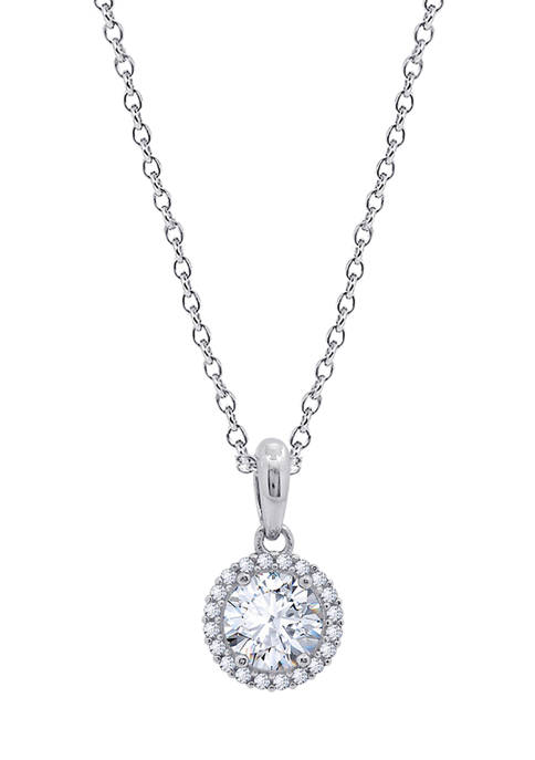 Platinum Plated Sterling Silver 1 ct. t.w. 8.25 Millimeter Round Swarovski® Cubic Zirconia  Halo Pendant Necklace, 16 in + 2 in Extender