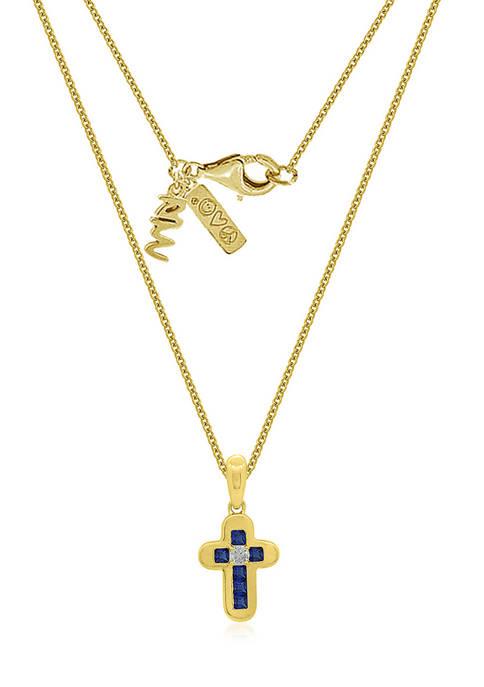 Peace Love World Cross Pendant with Chain, 14K