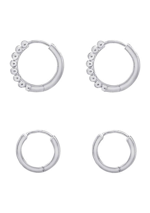 J'admire Rhodium Plated Sterling Silver Classic Huggie Hoops