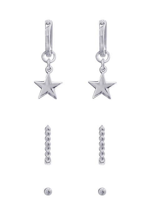 J'admire Rhodium Plated Sterling Silver Ball Studs, Star
