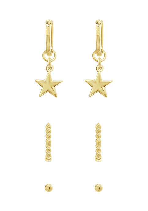 J'admire Yellow Gold Plated Sterling Silver Ball Studs,