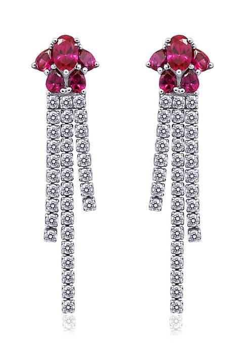 Rhodium Plated Sterling Silver Ruby Multi Stone Fancy Drop Earrings