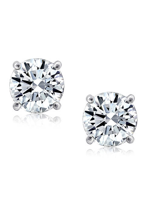 KIERA Rhodium Plated Sterling Silver 8 Millimeter Cubic
