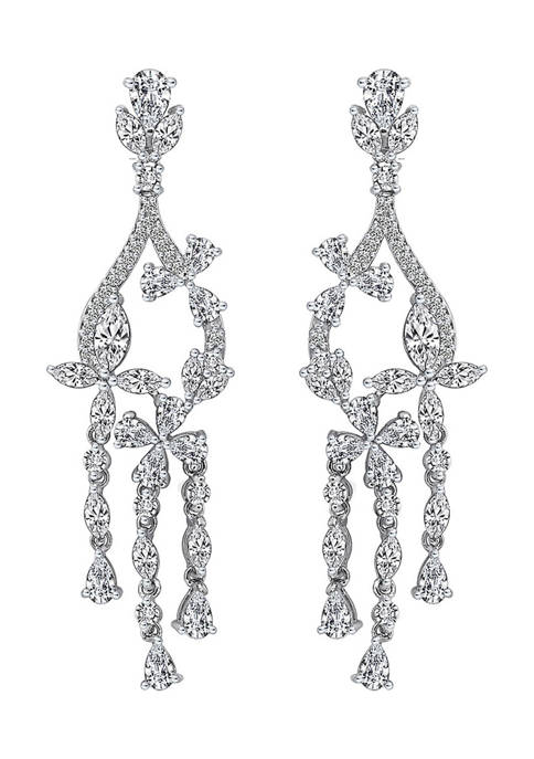 Platinum Plated Sterling Silver 8.5 ct. t.w. Cubic Zirconia Marquise Flower Chandelier Earrings