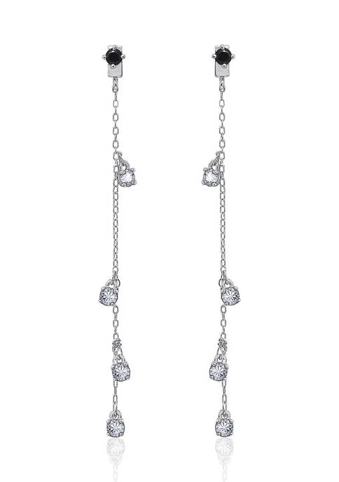 Platinum Plated Sterling Silver Cubic Zirconia with Spinel Dangling Linear Drop Earring