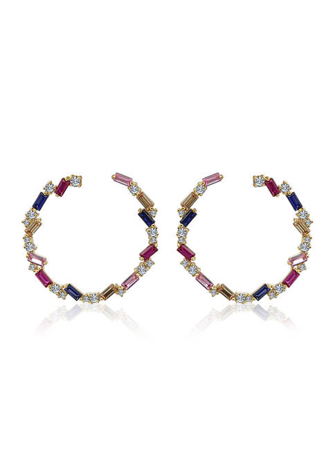 KIERA Yellow Gold Plated Sterling Silver Multicolored Baguette