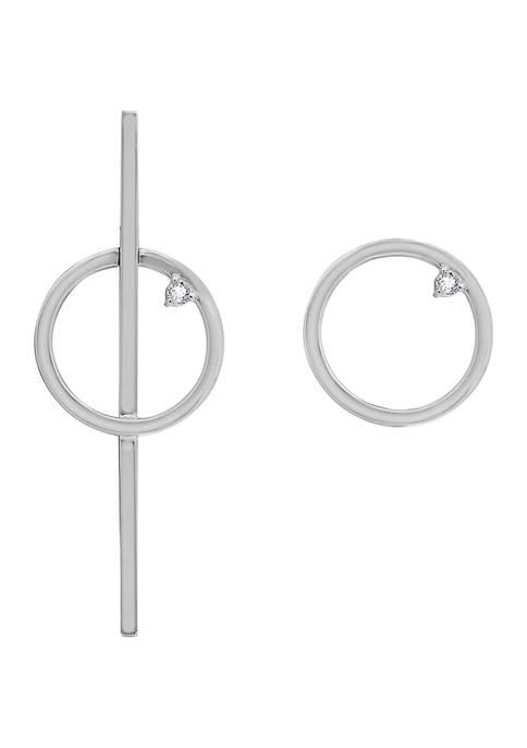 KIERA Platinum Plated Sterling Silver Cubic Zirconia Asymmetrical