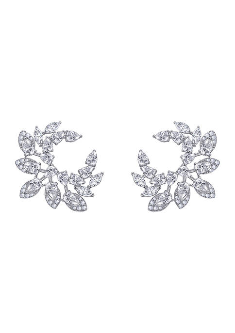 Platinum Plated Sterling Silver 6.38 ct. t.w. Cubic Zirconia Statement Earrings
