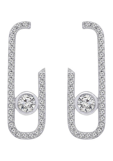 Platinum Plated Sterling Silver Cubic Zirconia Front Facing J-Shaped Drop Stud Earrings