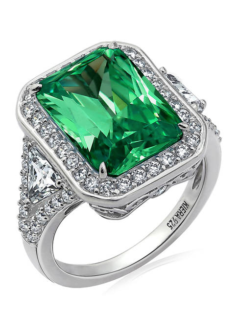 Platinum Plated Sterling Silver Cubic Zirconia Radiant Halo Cocktail Ring