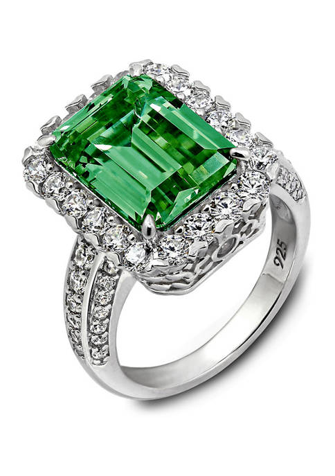 Platinum Plated Sterling Silver Cubic Zirconia Emerald Cut Simulated Gem Halo Cocktail Ring