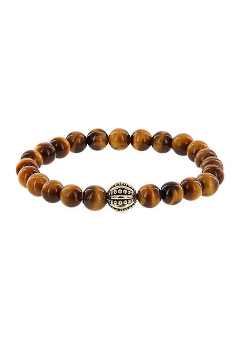 Ecclissi Tigers-Eye Gemstone Beaded Stretch Bracelet