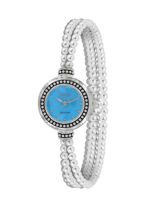 Sterling Silver Multi Strand Gemstone Bracelet Watch - Turquoise