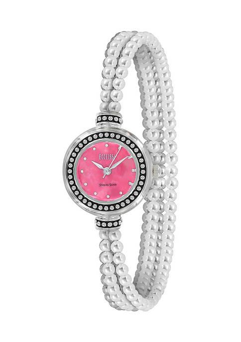 Sterling Silver Multi Strand Gemstone Bracelet Watch - Rhodonite