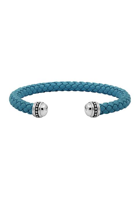 Ecclissi Sterling Silver Blue Braided Leather Cuff Bracelet
