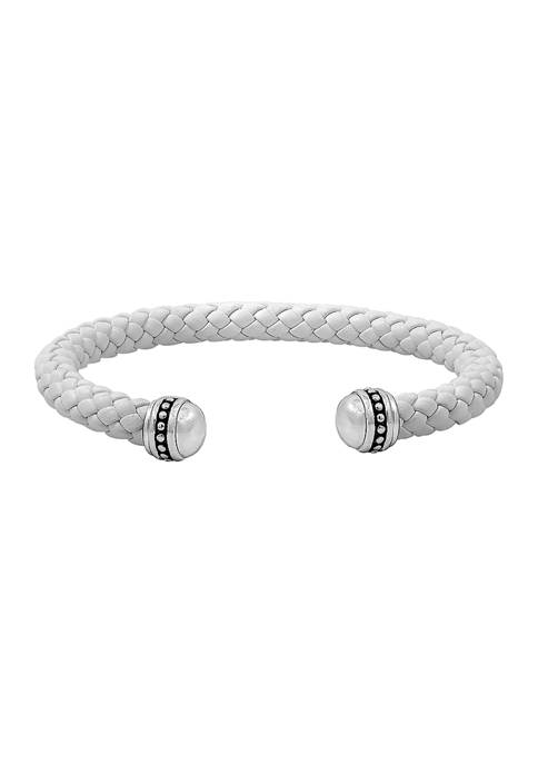 Ecclissi Sterling Silver White Braided Leather Cuff Bracelet