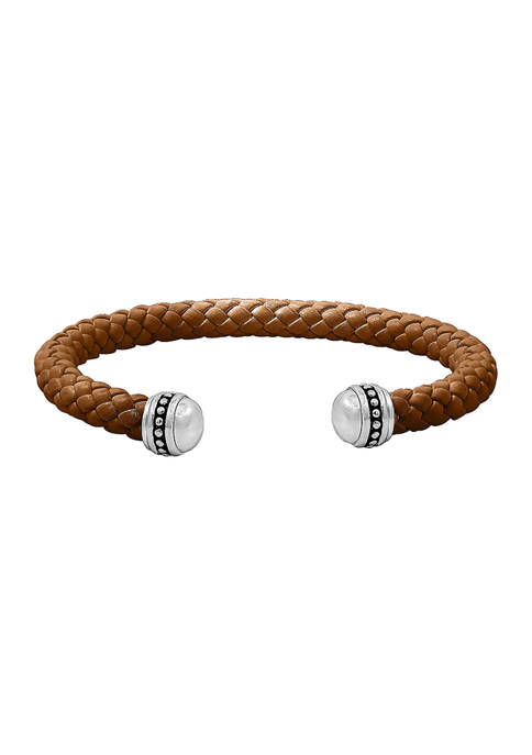 Sterling Silver Brown Braided Leather Cuff Bracelet