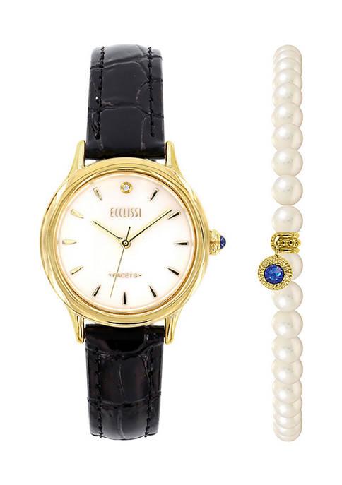 Ecclissi Facets Round Watch & Bracelet Set- Gold