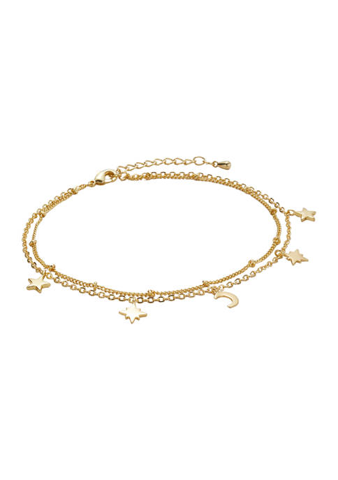 Belk Gold Tone Two Row Moon Star Anklet