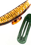 Brown and Green Oversized Circle Claw Clip Set