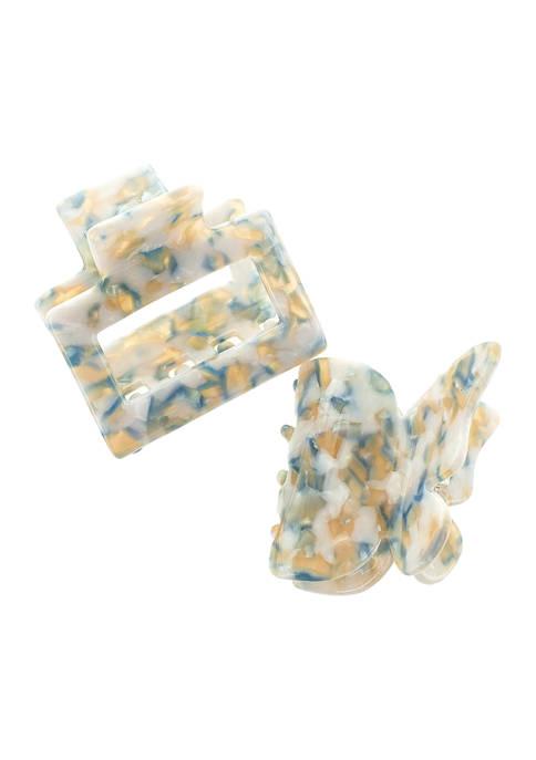 Belk Blue Multi Butterfly Claw Clip Set
