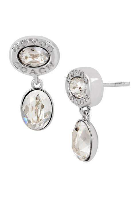 COACH Signature Logo Swarovski® Crystal Double Drop Earrings
