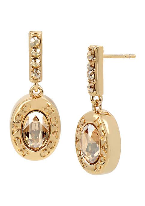 COACH Signature Logo Swarovski® Crystal Bar Drop Earrings