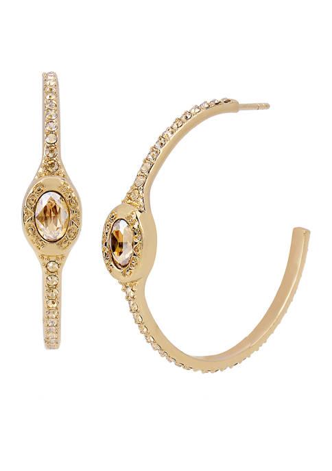 Signature Logo Swarovski® Crystal Pavé  Hoop Earrings