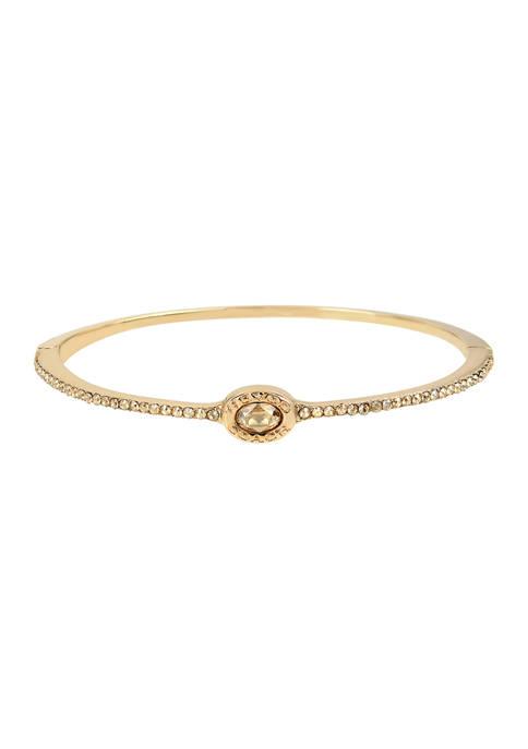 Signature Logo Swarovski® Crystals Delicate Hinged Bangle Bracelet