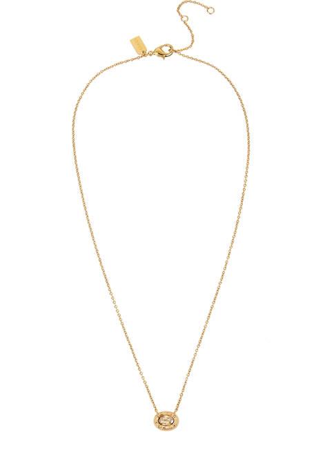 COACH Signature Logo Swarovski® Crystal Pendant Necklace