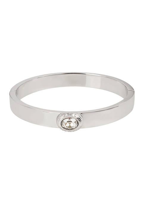 Signature Logo Swarovski® Crystals Hinged Bangle Bracelet