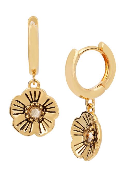 COACH Tea Rose Swarovski® Crystals Huggie Earrings