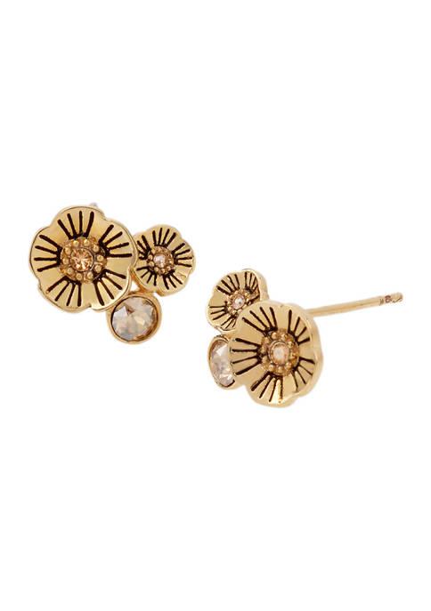 COACH Tea Rose Swarovski® Crystals Cluster Stud Earrings