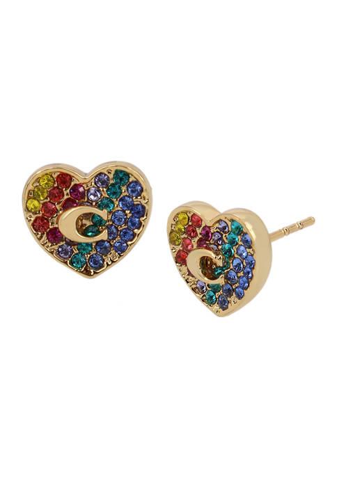 COACH Heart Swarovski® Crystals Stud Earrings