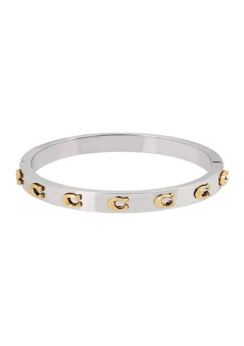 Signature C Hinged Bangle Bracelet