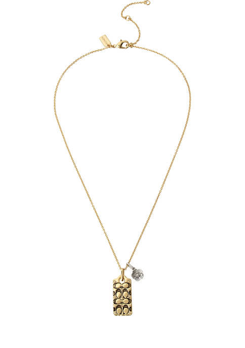 COACH Quilted C Swarovski® Crystals Pendant Necklace
