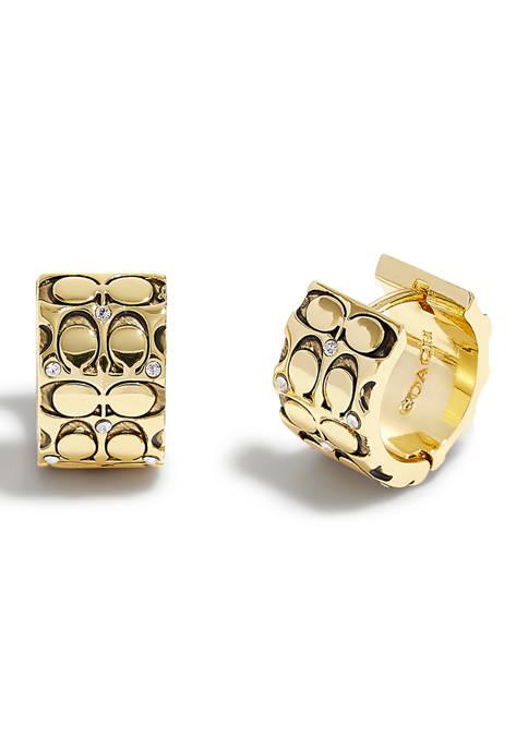 Quilted C Swarovski® Crystals Huggie Earrings